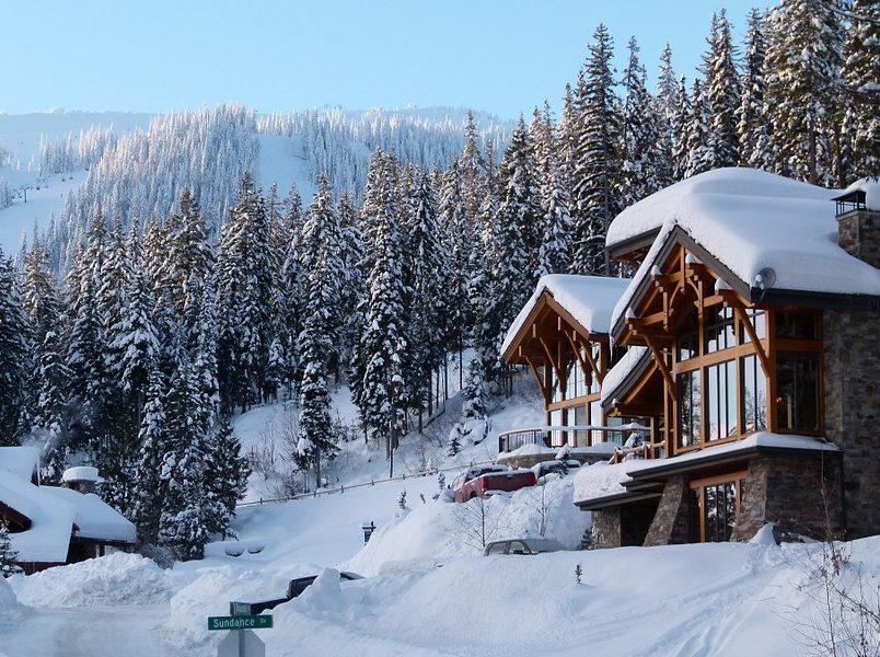 Winter Ski Hill Sunny Sun Peaks Snow